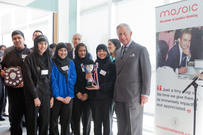 HRH The Prince of Wales with Southfields Community College students