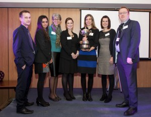 Presented to Mosaic's Julieta Pesce by Mary Wade of St Mark's Catholic School, Stephanie Dean of GSK and Sally Smith of Hounslow Chamber (with Will Berryman of Rivers Academy, Nidhi Chhibba of Heston School and Jason Hermon of Lampton School).