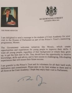 Prime Minister writes to Mosaic students who visit Houses of Parliament