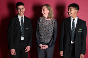 Becky Mitchell, Mosaic's West Midlands Regional Manager, with Amjid Khan (left) and Farhaan Yasin from Washwood Heath Academy