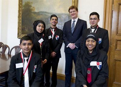 Last year's winners, Slough and Eton School with Danny Alexander